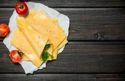 Tunna skivor av ost med tomater och en filial av mintkaramellen fotografering för bildbyråer