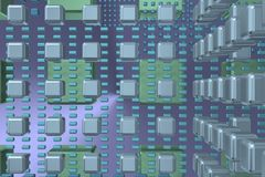 Tunnbindaretechbakgrund med kuber 1 Arkivfoto