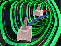 Tunnel. Abctract background - tunnel, cables and plugs Vector Illustration