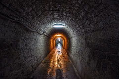 The tunnel. A dark tunnel from Romania stock photography