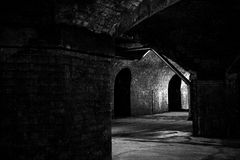 Tunnel. Old railway viaduct / tunnel taken in black and white Royalty Free Stock Images