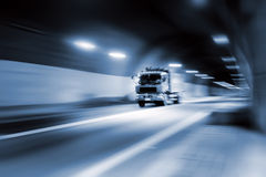 Tunnel. Dynamic tunnels and vehicles, a blue screen Royalty Free Stock Image