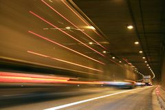 Tunnel. A lot of traffic in this tunnel royalty free stock image