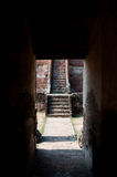 Tunnel. Go to staircase in the old temple Royalty Free Stock Image