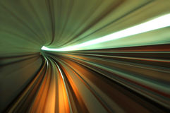 Tunnel. Speedy train moving in tunnel Royalty Free Stock Photography