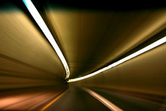 In the tunnel. Abstract lines of lights in tunnel stock photography