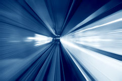 Tunnel. Moving fast into blue tunnel Stock Image