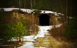 Tunnel. Abandoned military base Royalty Free Stock Photos