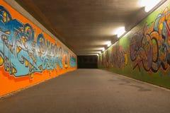 Tunnel abandonné de graffiti Photographie stock