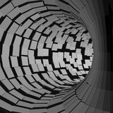 Tunnel abstrait Style futuriste surface 3D Tube de rotation Fond de perspective Photos libres de droits