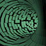 Tunnel abstrait Style futuriste surface 3D Tube de rotation Fond de perspective Images libres de droits
