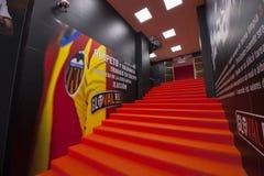 Tunnel al campo da giuoco allo stadio di Mestalla Fotografie Stock