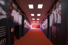 Tunnel al campo da giuoco allo stadio di Mestalla Fotografia Stock Libera da Diritti