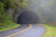 Tunnel in Appalachian Mountains. Blue Ridge Parkway, tunnel through the Appalachian Mountains on a smokey day Stock Image