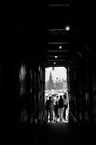 Tunnel on the approach to The Red square MOSCOW, RUSSIA. Black and white photography Stock Image