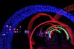 Tunnel av neonljus i nytt år Fotografering för Bildbyråer