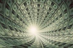 Tunnel av pengar, dollar in mot ljus Arkivbild