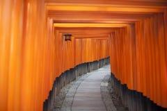 Tunnel av röda Torii portar på Fushimi, Japan Royaltyfri Foto