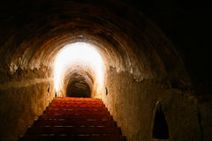 Tunnel background and business concept. tunnel with old brick. the end of tunnel and concept business successfully. mystery tunnel Stock Images