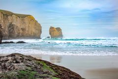 Tunnel Beach during early morning hours, near Dunedin, Otago, South Island, New Zealand royalty free stock photos