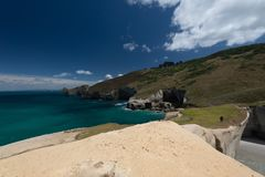 Tunnel Beach Walk Dunedin New Zealand. Taken in 2015 taken in HDR stock photos