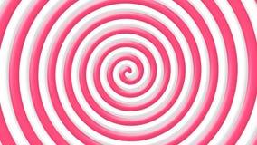Tunnel bianco e di rosa della caramella del lecca lecca di turbinio di spirale di illusione ottica - loopable video d archivio