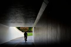 Through the tunnel. A bicycle rider on the Boise Greenbelt emerges from the dark tunnel beneath Capitol Boulevard and into Julia Davis Park. This would make an royalty free stock image