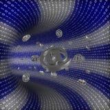 Tunnel binario con il email che viene da parte a parte Immagine Stock