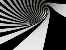 Tunnel of black and white lines Royalty Free Stock Images