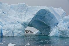 Tunnel in Blauwe Antarctische Ijsberg wordt gevormd die royalty-vrije stock foto's