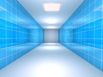 Tunnel with blue tiled walls Stock Photography
