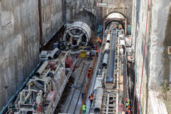 Tunnel Boring Machines at construction site of metro Royalty Free Stock Photo