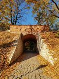 Tunnel of bricks in late autumn stock photography