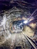Tunnel of the Calamita mine, in Capoliveri royalty free stock photography