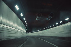 Tunnel car driving motion blur. Royalty Free Stock Images