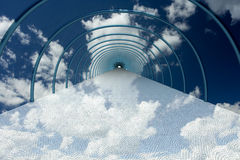 Tunnel in clouds. Stock Photo