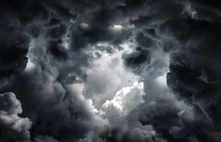 Tunnel in the Clouds. Tunnel in the Dark and Dramatic Clouds royalty free stock photos