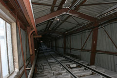 The tunnel of the colliery in Pyramiden. Royalty Free Stock Photo
