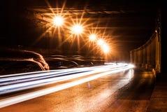 Tunnel con le luci commoventi Fotografia Stock Libera da Diritti
