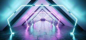Tunnel concret réfléchi étranger futuriste moderne Empt de couloir illustration stock