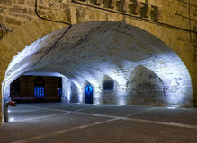 The tunnel connecting Lascaris Wharf and lift to the Upper Barra. Valletta, MALTA - JULY 28, 2015: The night view of tunnel connecting Lascaris Wharf and Royalty Free Stock Photo
