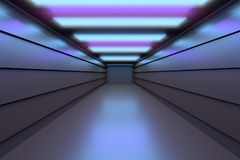 Tunnel, corridor with shiny reflective surfaces and colored light panels on the ceiling. Futuristic space - empty tunnel corridor reflective floors. Image in royalty free illustration