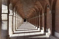 The tunnel. Corridor from stone arches, Aranjues, Spain royalty free stock image