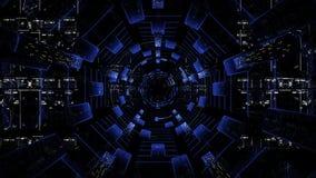 Tunnel cosmico di ciclaggio del hud di fi di sci Tunnel tecnologico infinito senza fine di fi di sci archivi video