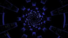 Tunnel cosmico di ciclaggio del hud di fi di sci Tunnel tecnologico infinito senza fine di fi di sci video d archivio