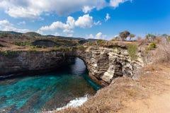 Tunnel crater coastline at Nusa Penida island Stock Image