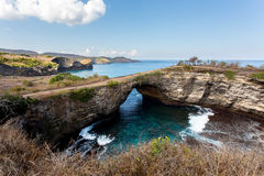 Tunnel crater coastline at Nusa Penida island Royalty Free Stock Photo