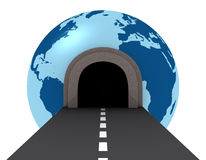 Tunnel crossing the world. One street with a  tunnel that pass across a globe (3d render Royalty Free Stock Photo