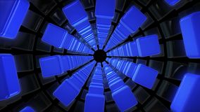 Tunnel of cubes in blue color on black. In backgrounds stock footage