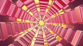 Tunnel of cubes in pink and yellow colors stock video